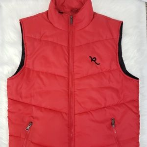 Rocawear Mens Size L Red/ Black Thin Puffer Vest